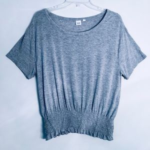 Gap | Elastic Smocked Waistband T-Shirt Gray SMALL